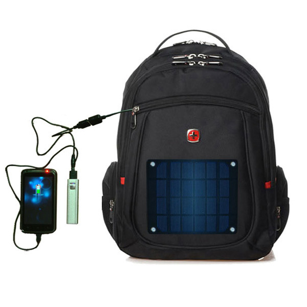 2.8watt solar swissgear backpack, outdoor solar travel backpack with 2.6Ah power bank