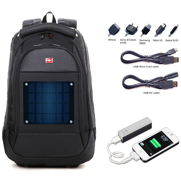 2.8watt solar swissgear backpack with 1680D + PU materials