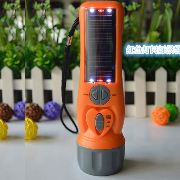 Multifunction solar hand crank flashlight with With FM radio/SOS/compass etc function