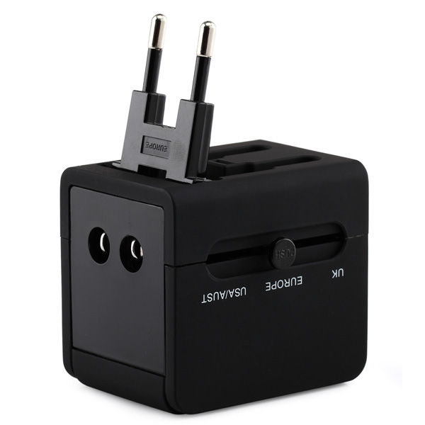 Single output USB port universal travel adaptor with black color