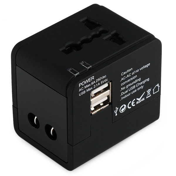 Dual USB output port universal travel adaptor charager