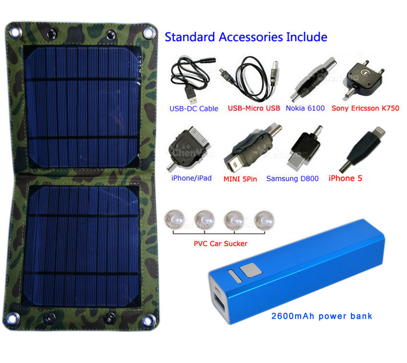 7watt solar bag charger match with 2600mAh power bank set