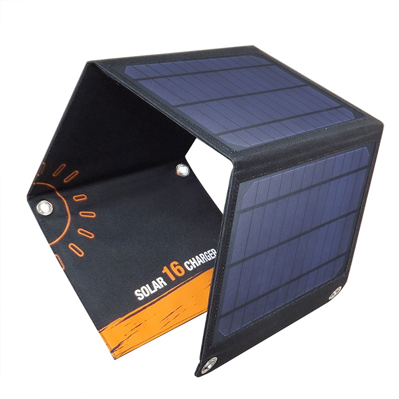 16watt foldable solar bag charger with dual USB voltage controller EM-016
