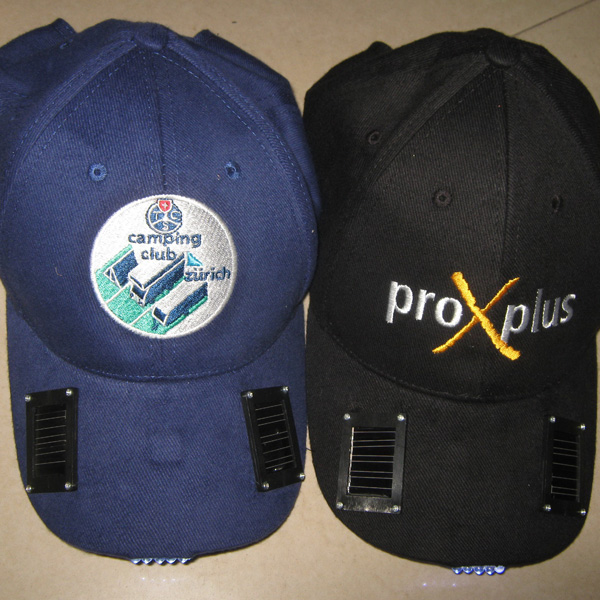 Mix color solar LED hat, cooling solar LED cap , can do your logo as free charge