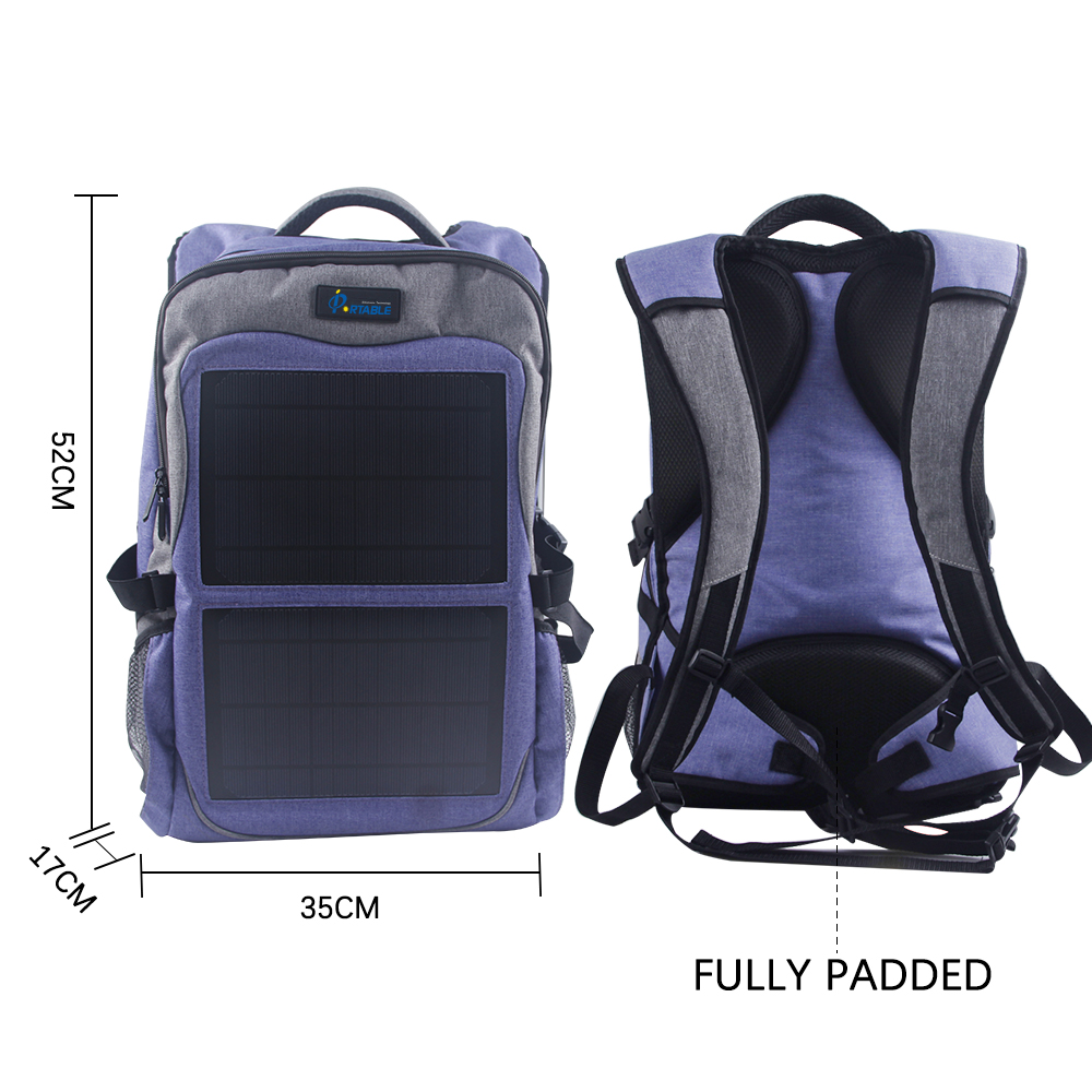 12watt dual output solar backpack include voltage controller